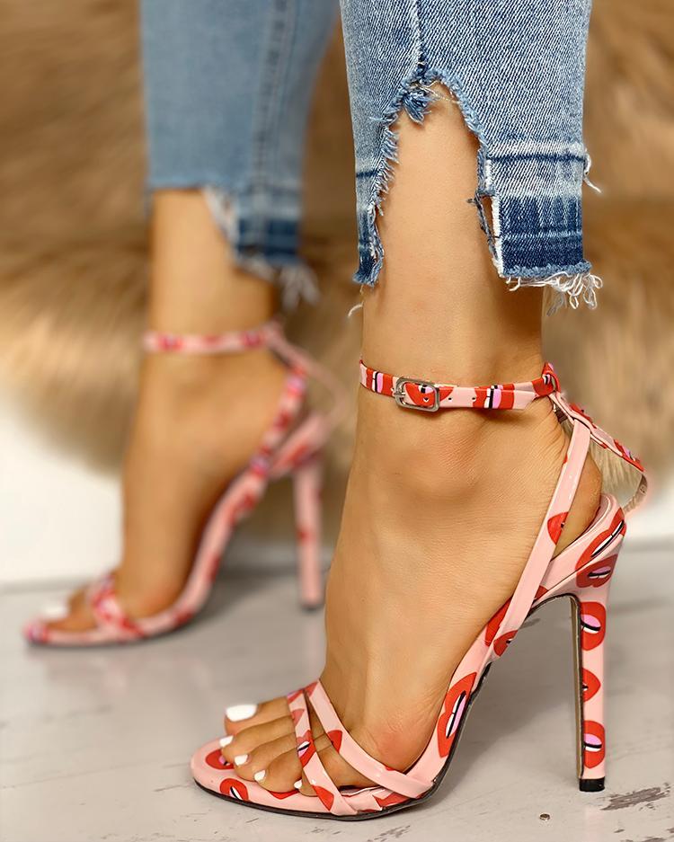 joyshoetique / Lips Pattern Ankle Buckle Thin Heeled Sandals