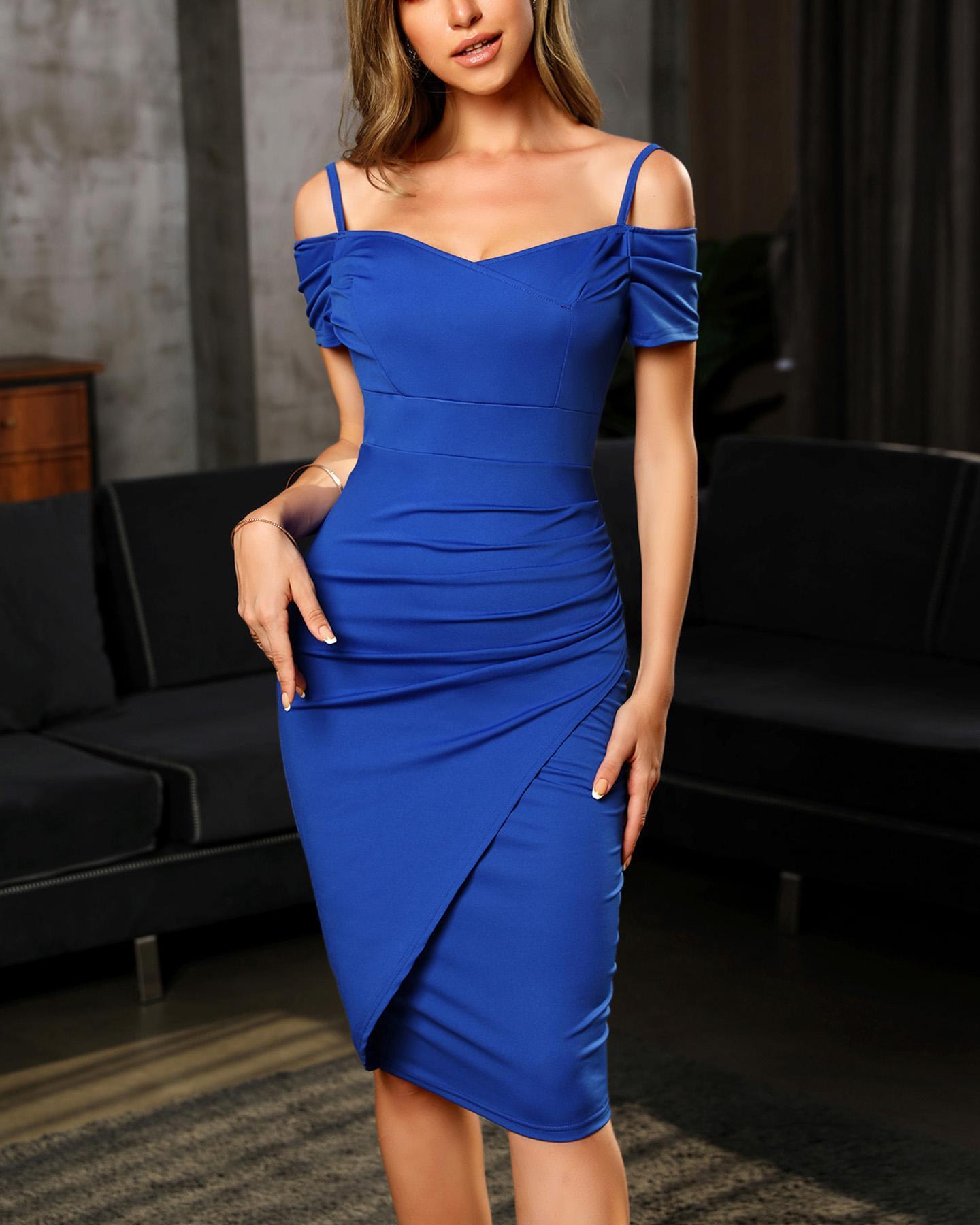 Cold Shoulder Spaghetti Strap Bodycon Dress, Blue