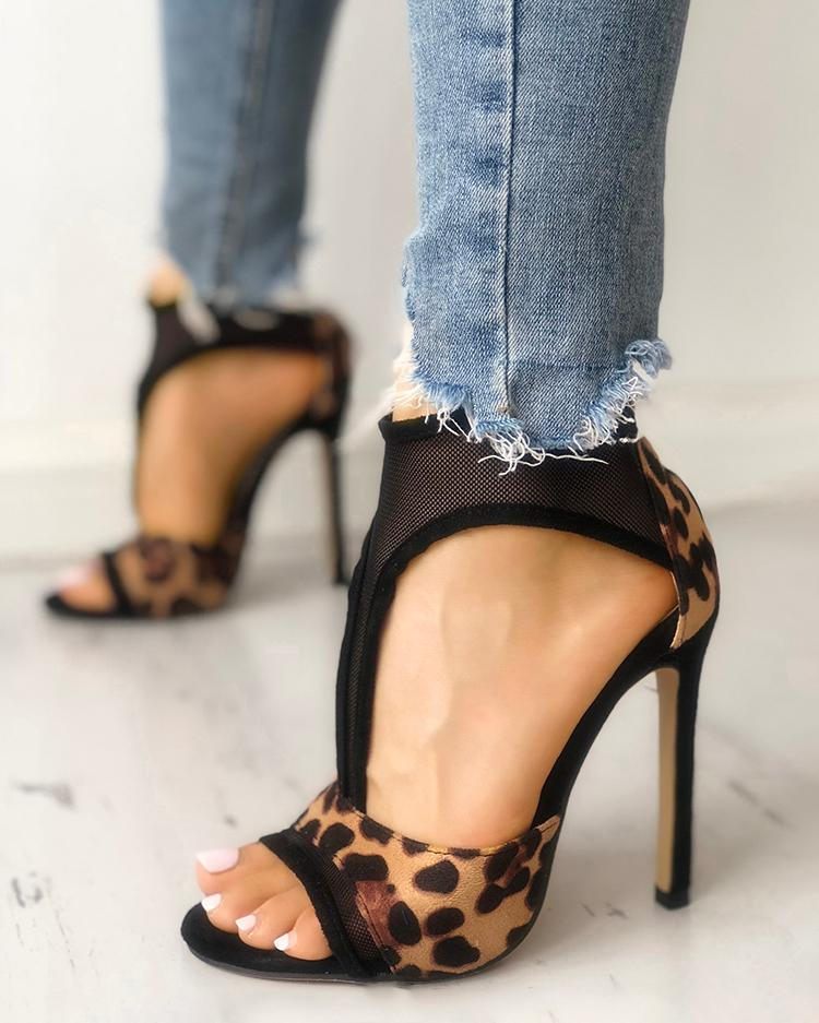Leopard Mesh Thin Heeled Sandals