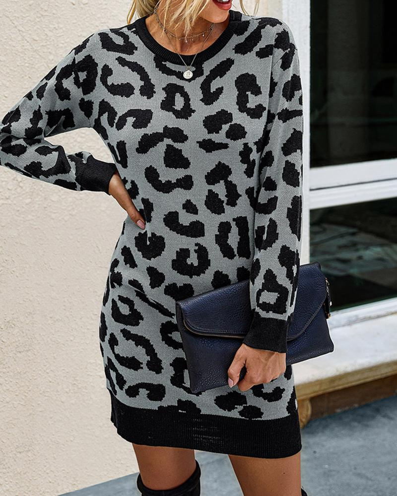 Cheetah Print Contrast Binding Long Sleeve Dress фото
