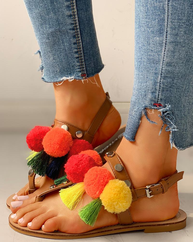 Colorful Fluffy Buckled Flat Sandals, Multicolor
