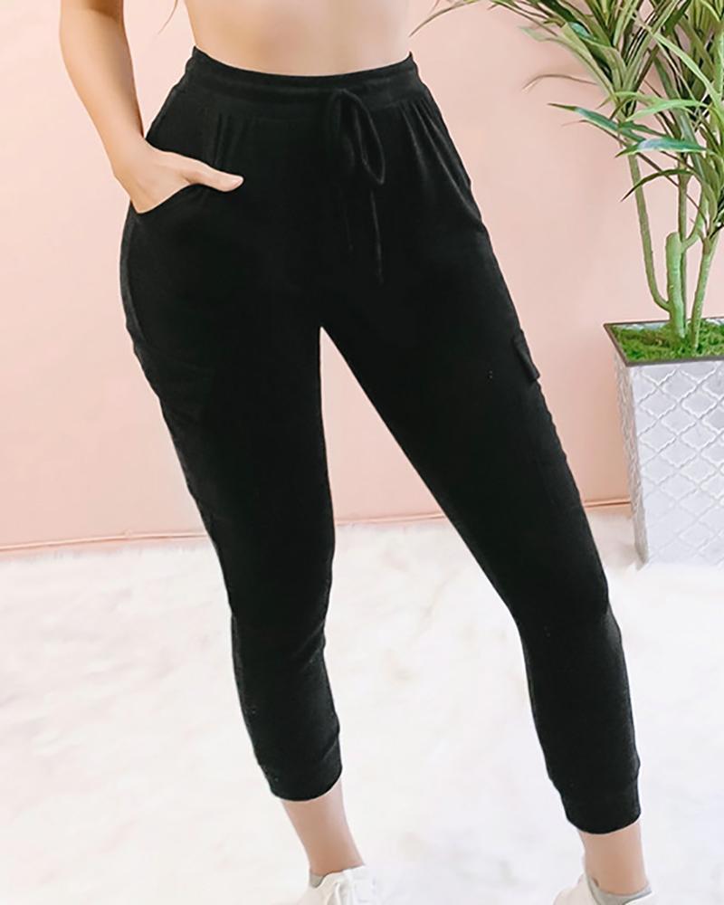 Drawstring Design Casual Pants фото