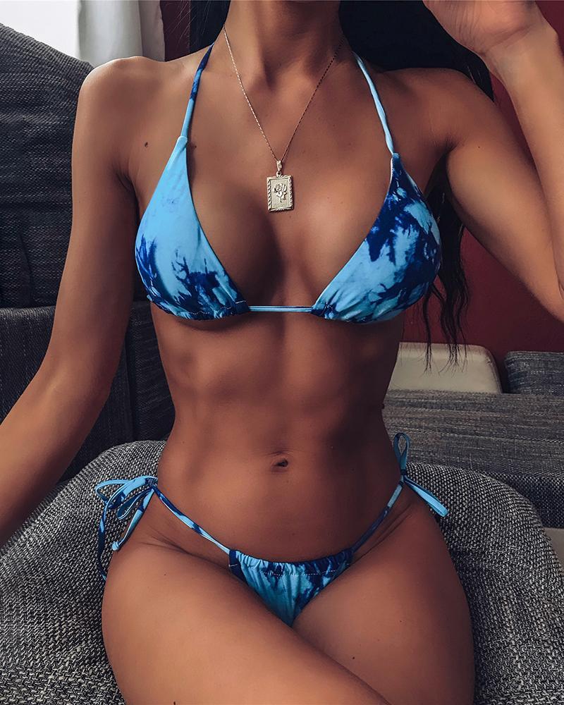 Halter Tie Dye Print Bikini Set, Blue