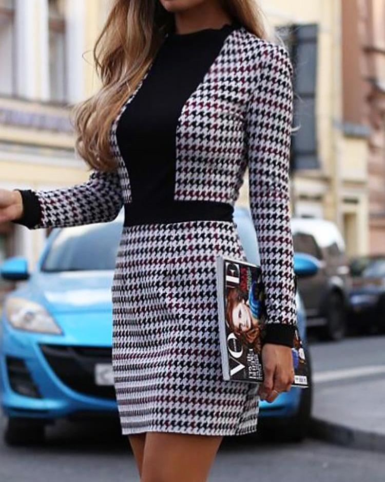 Houndstooth Insert Tweed sheath Dress