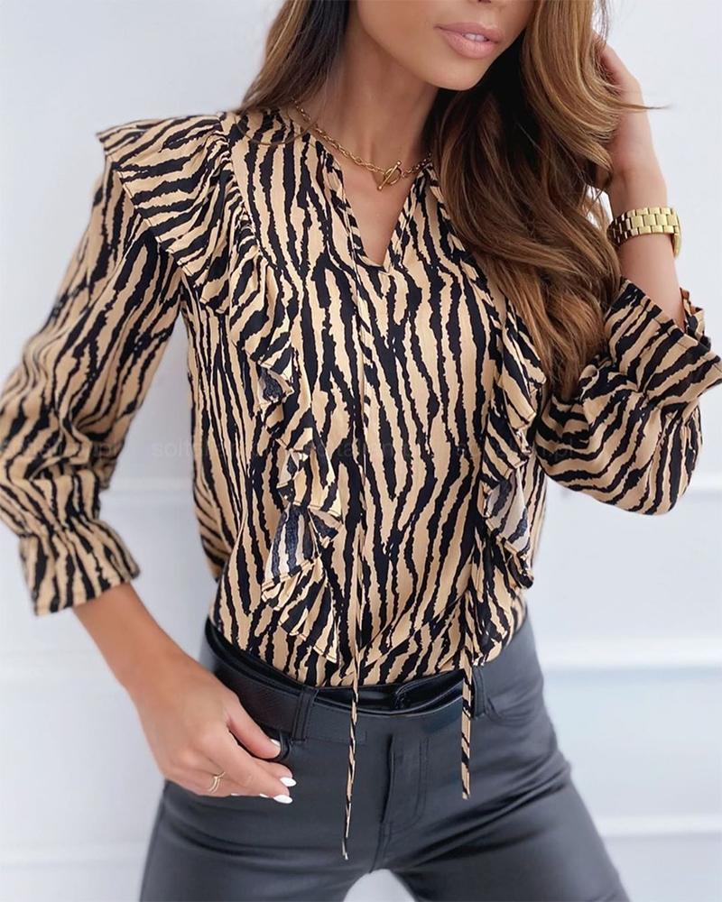 Zebra Print Ruffled Lace-up Top фото
