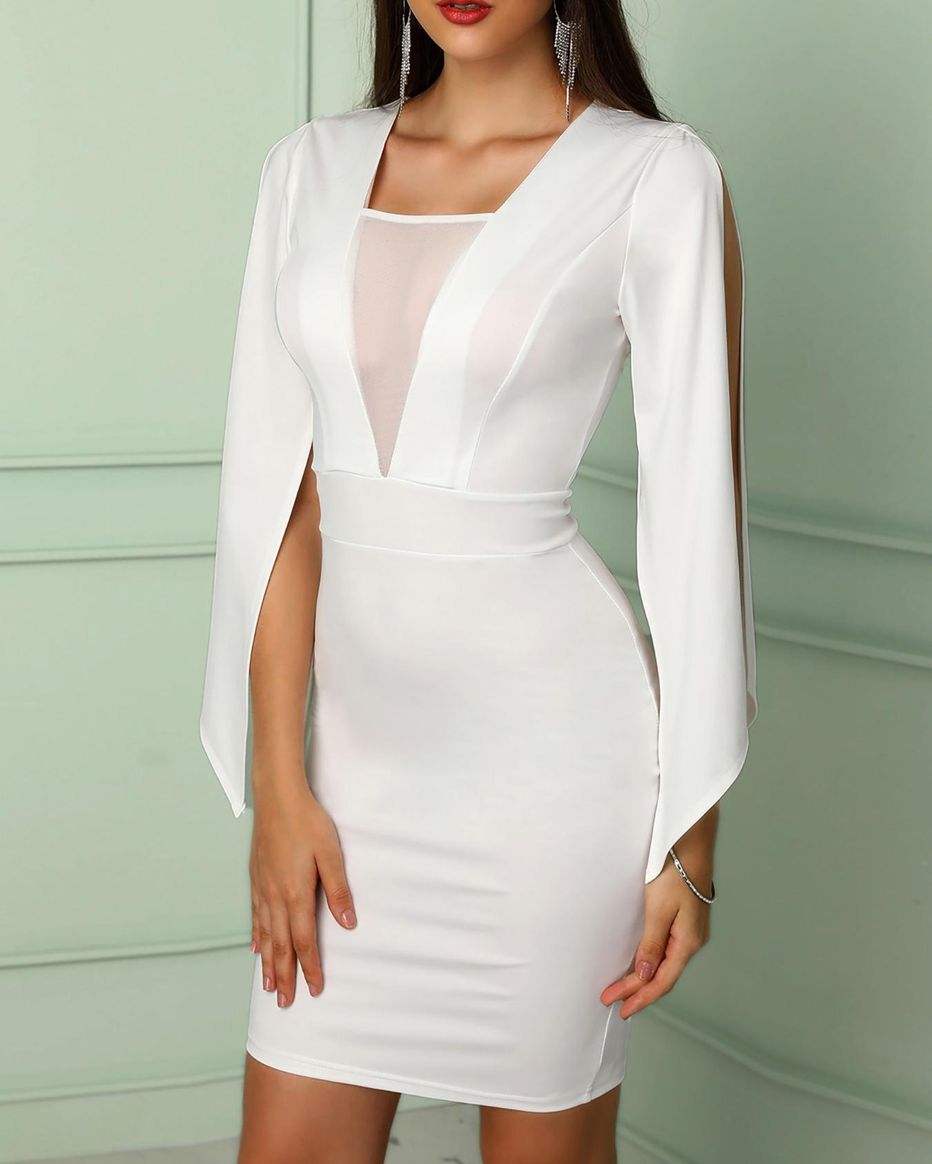 Billowing Split Sleeves Mesh Insert Bodycon Dress