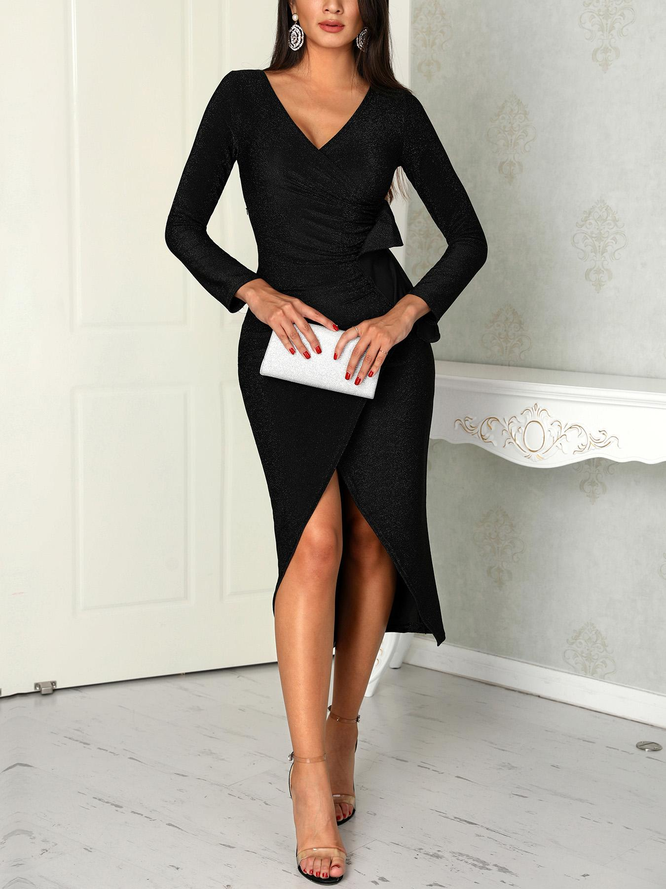 Glittering Wrap Ruched Overlap Party Dress фото