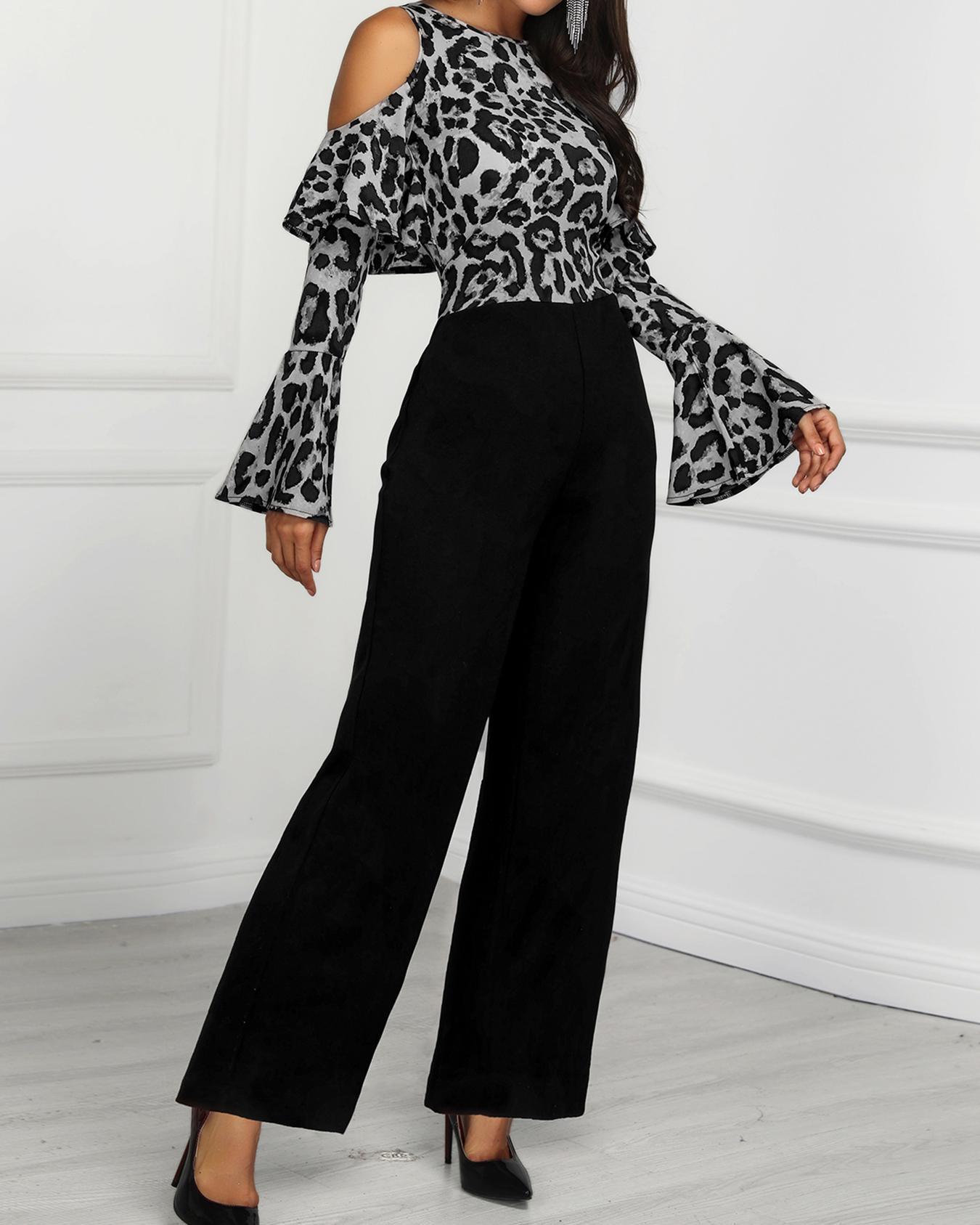 Leopard Print Cold Shoulder Jumpsuit