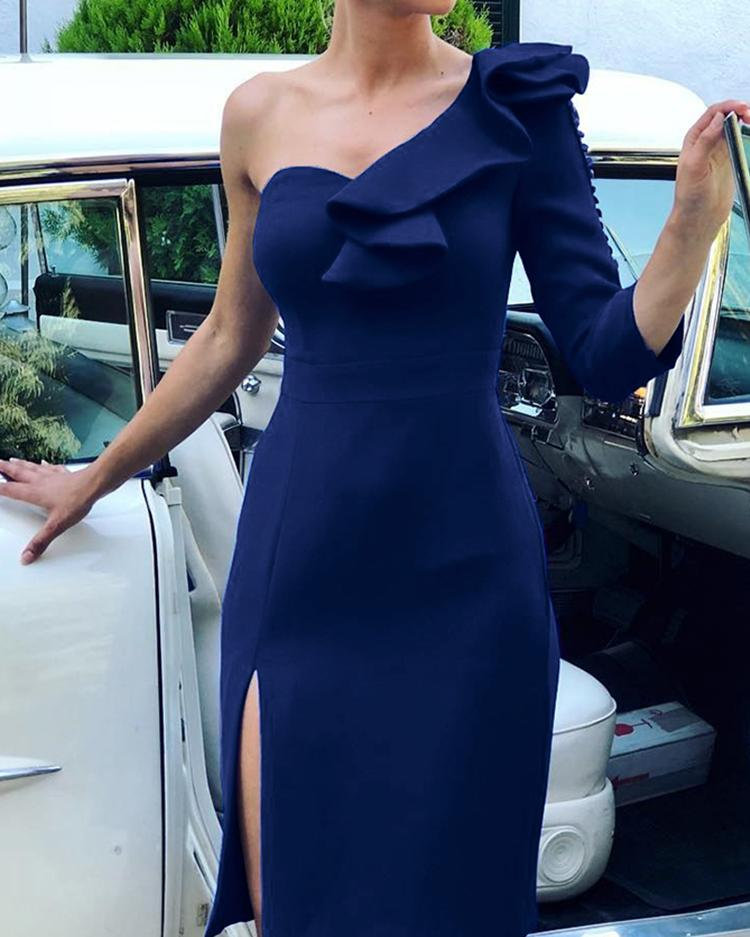 One Sleeve Ruffles Decorated Slit Side Party Dress фото