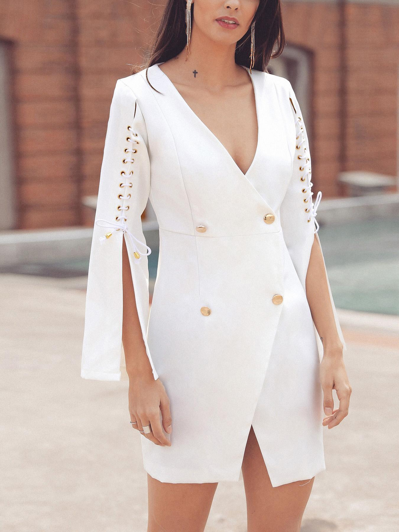 Lace-Up Slit Sleeve Double-Breasted Blazer Dress