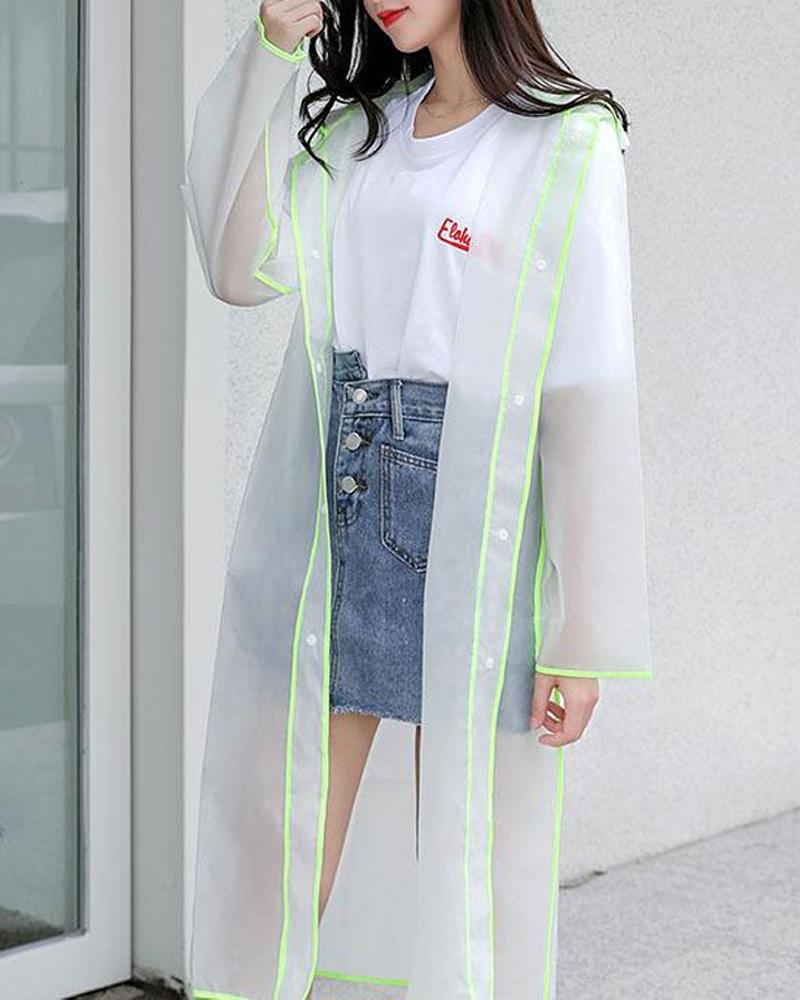 Contrast Trim Hooded Raincoat фото