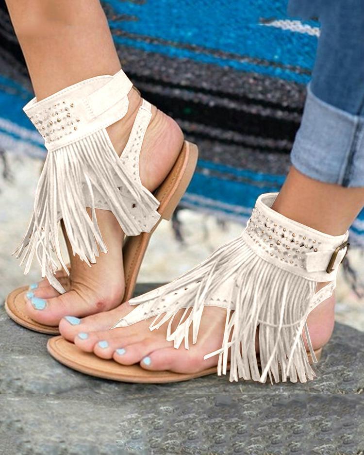 joyshoetique / Ethnic Style Fringe Tassel Thong Flat Sandals