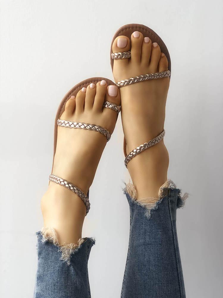 joyshoetique / Solid Toe Ring Braided Strap Flat Sandals