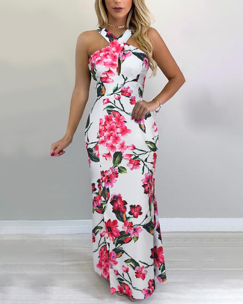 chicme / Floral Print Crisscross Neck Maxi Dress