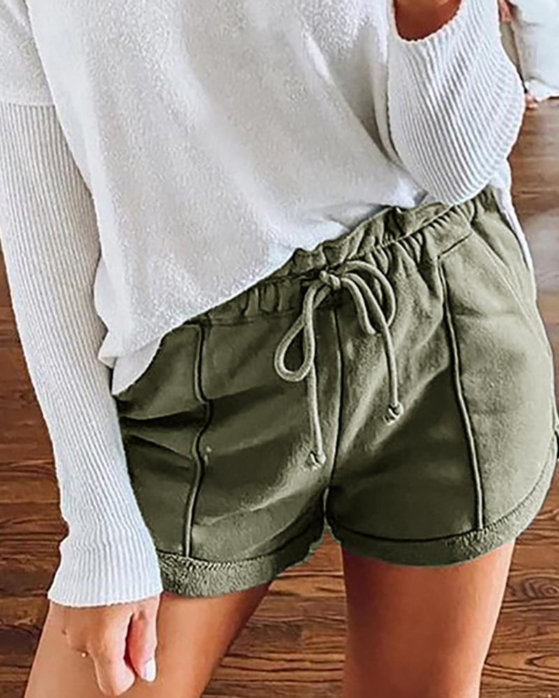 High Waist Frill Hem Drawstring Pockets Casual Shorts фото