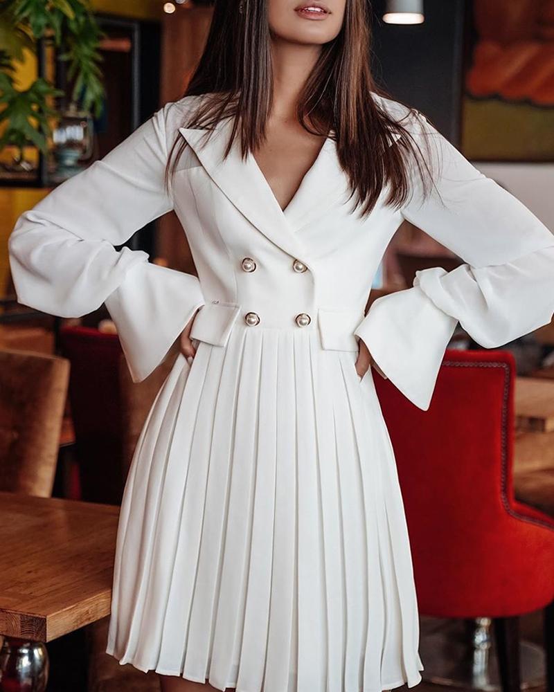 boutiquefeel / Vestido blazer plisado cruzado sólido