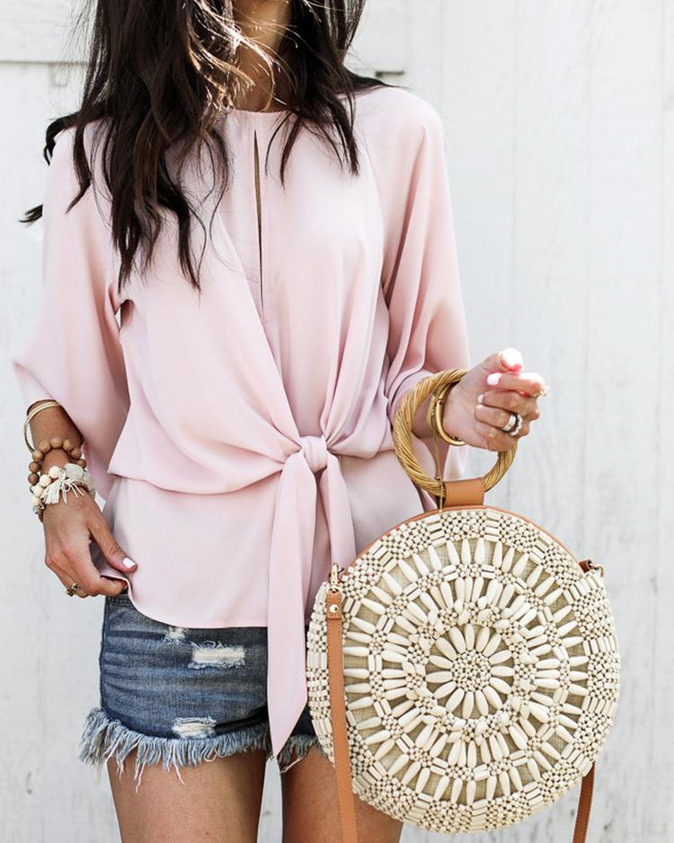 Solid Bat-wing Sleeve Knot Front Casual Blouse