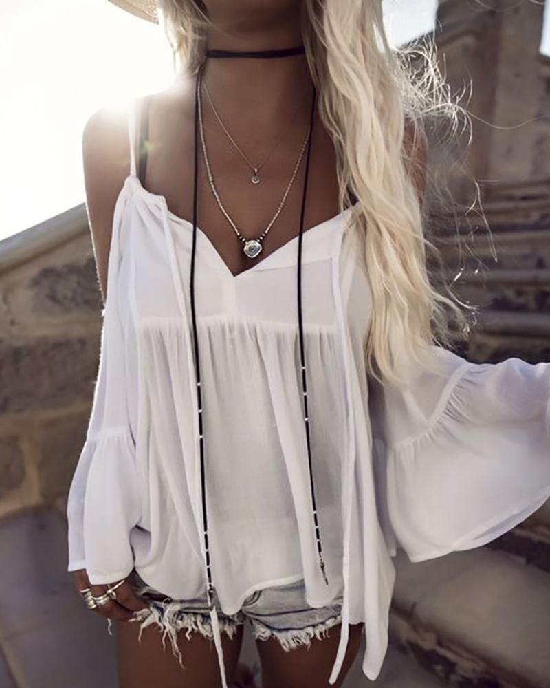 Cold Shoulder Drawstring Flare Sleeve Smock Blouse, White