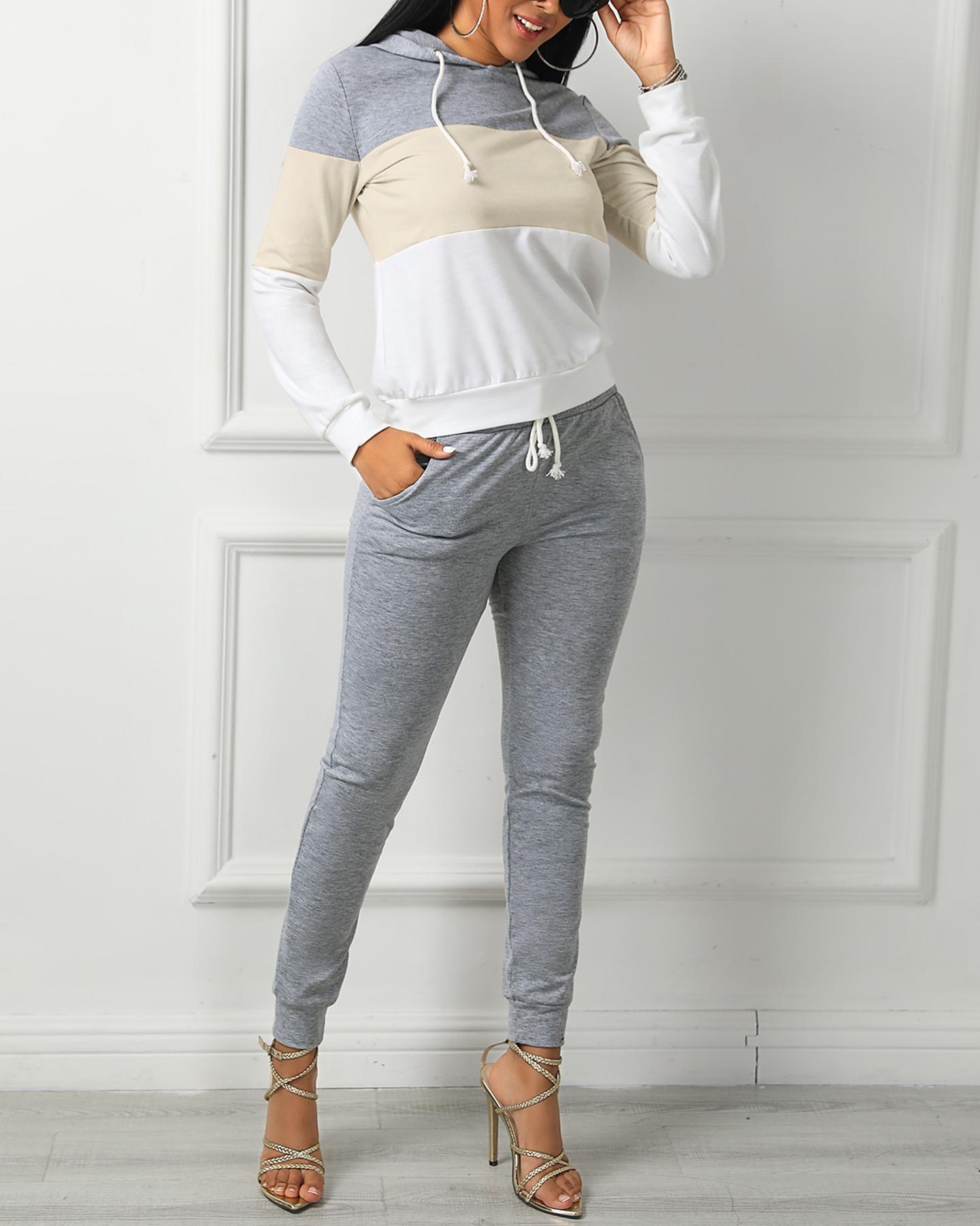 Drawstring Design Colorblock Hooded Top & Pant Sets фото
