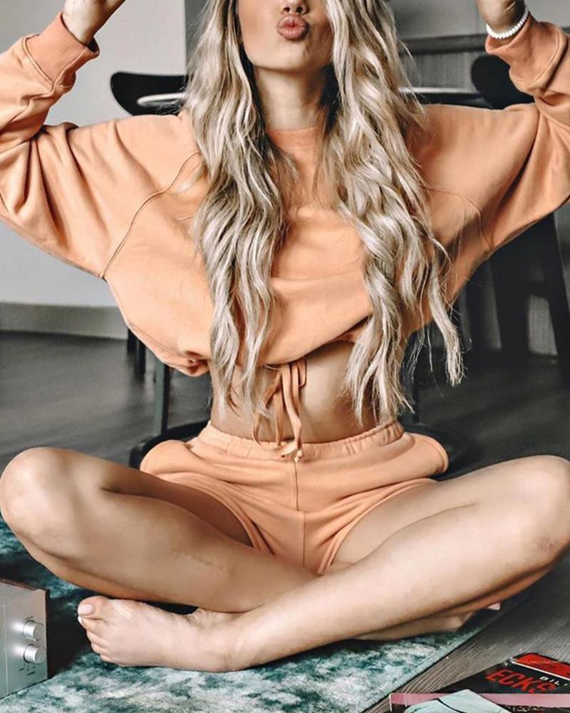 ivrose / Conjunto de blusas e shorts sólidos