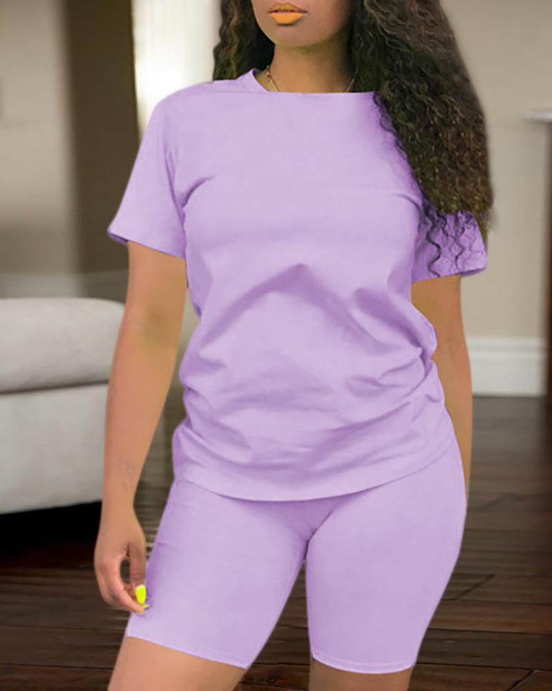 Solid Short Sleeve Sporty Top & Short Set