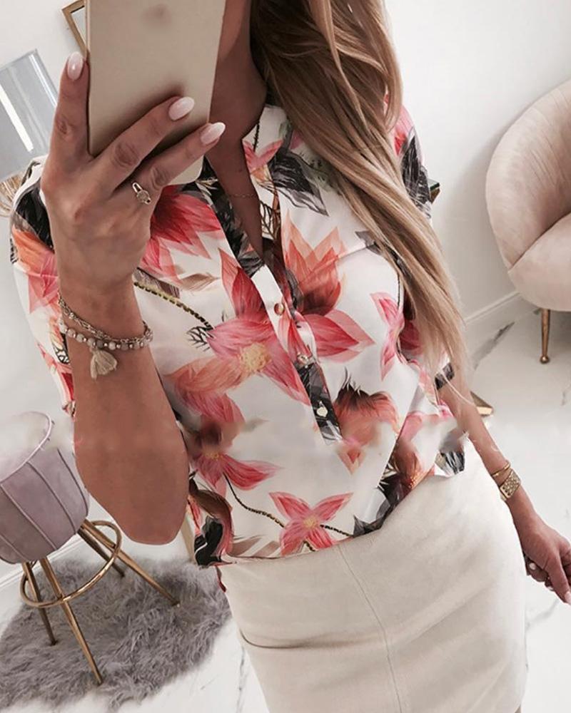 ivrose / Camisa casual con estampado floral y detalle de botones