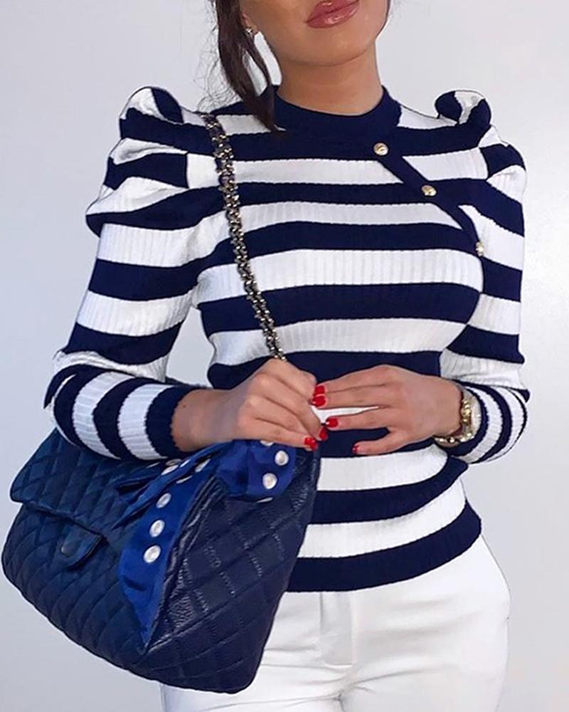 Colorblock Striped Puff Sleeve Sweater фото