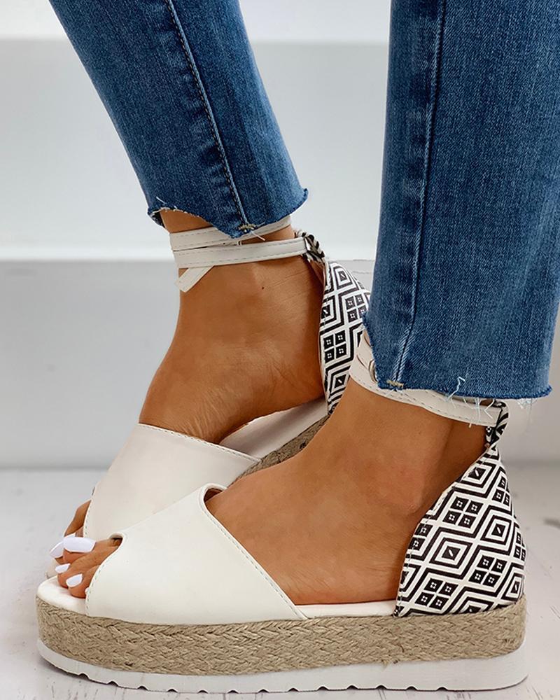 Peep Toe Woven Flax Heeled Sandals фото