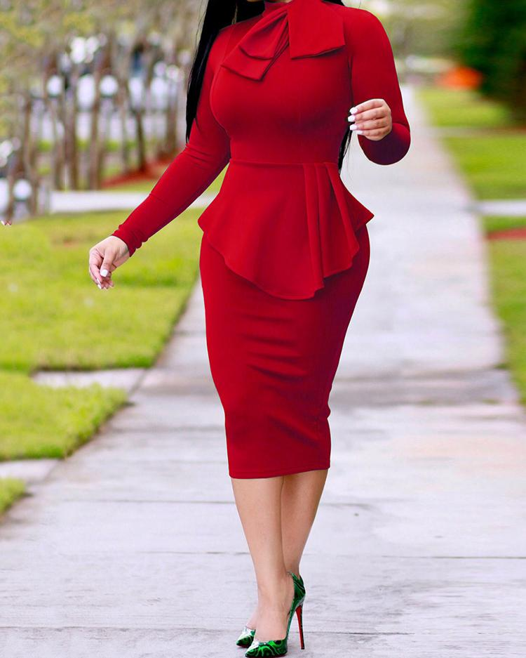 Bowtie Neck Ruffles Hem Midi Bodycon Dress фото