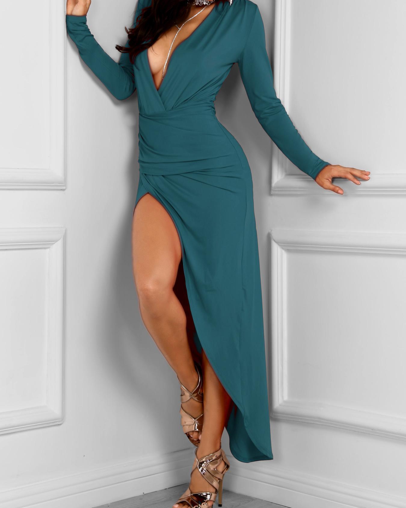 Long Sleeve Ruched Slit Irregular Party Dress