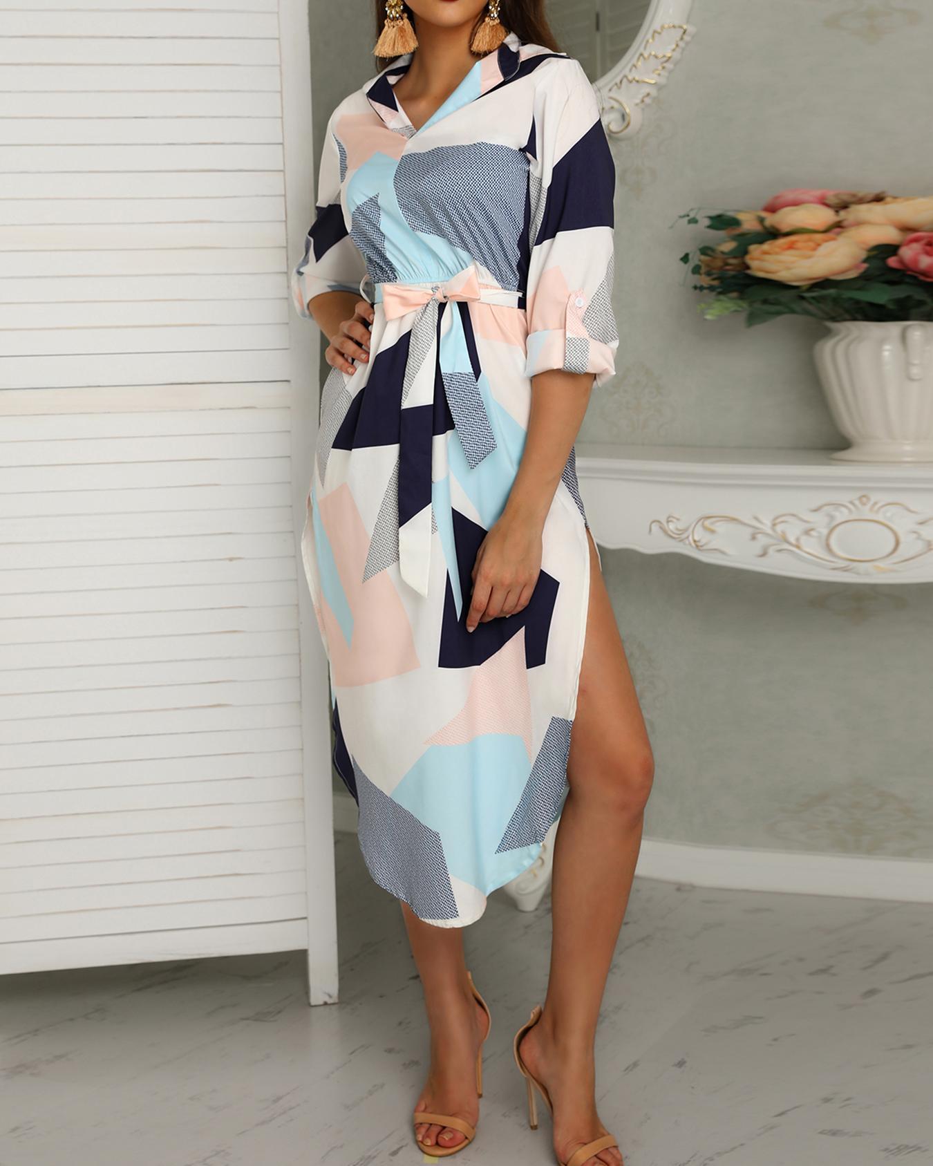 Asymmetrical Color Block Side Split Belted Casual Dress фото