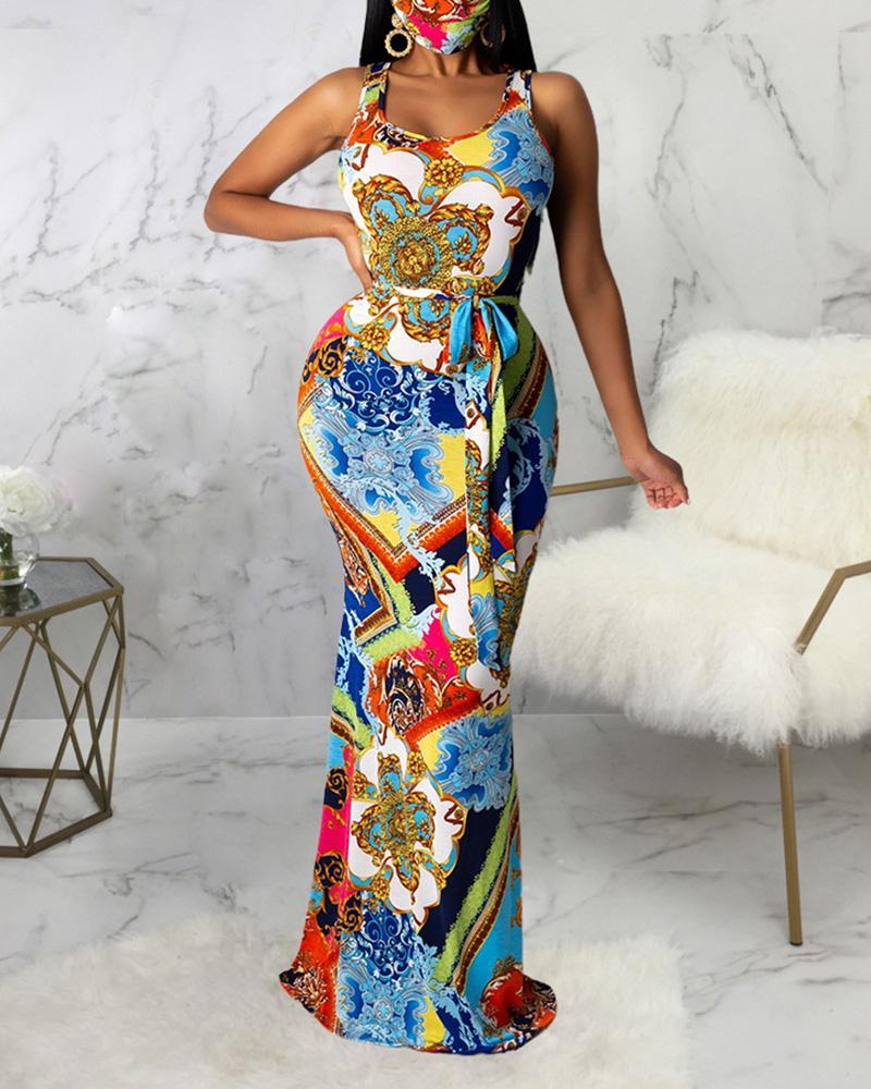 Cutout Back Tribal Print Maxi Dress фото