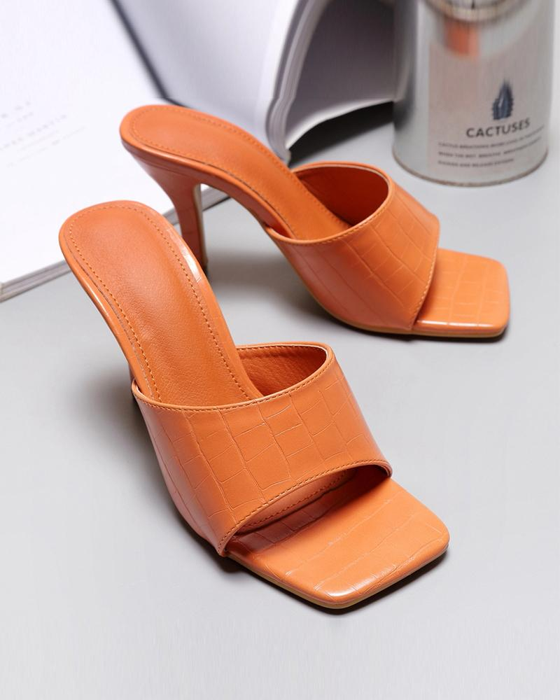 Peep Toe Checked Pattern Heeled Sandals фото