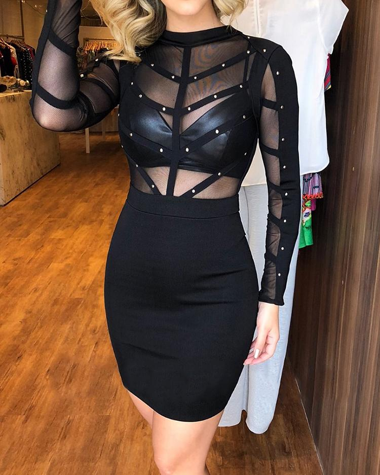 Sheer Mesh Splicing Rivet Embellished Bodycon Dress фото