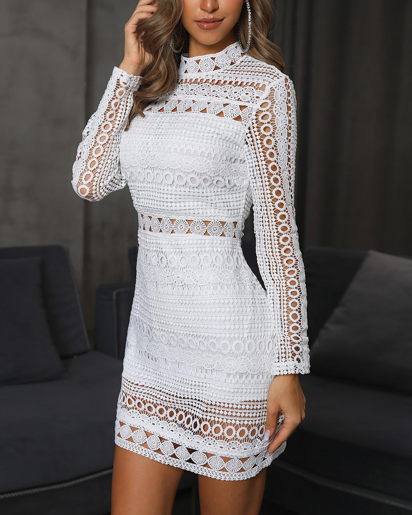 Elegant Crochet Lace Hollow Out Sheath Dress фото