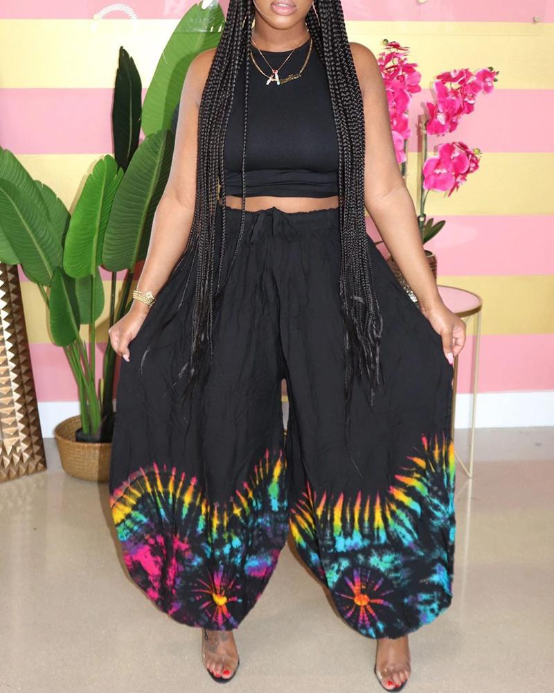 Casual Tank Top & Tie Dye Print Palazzo Harem Pants Set фото