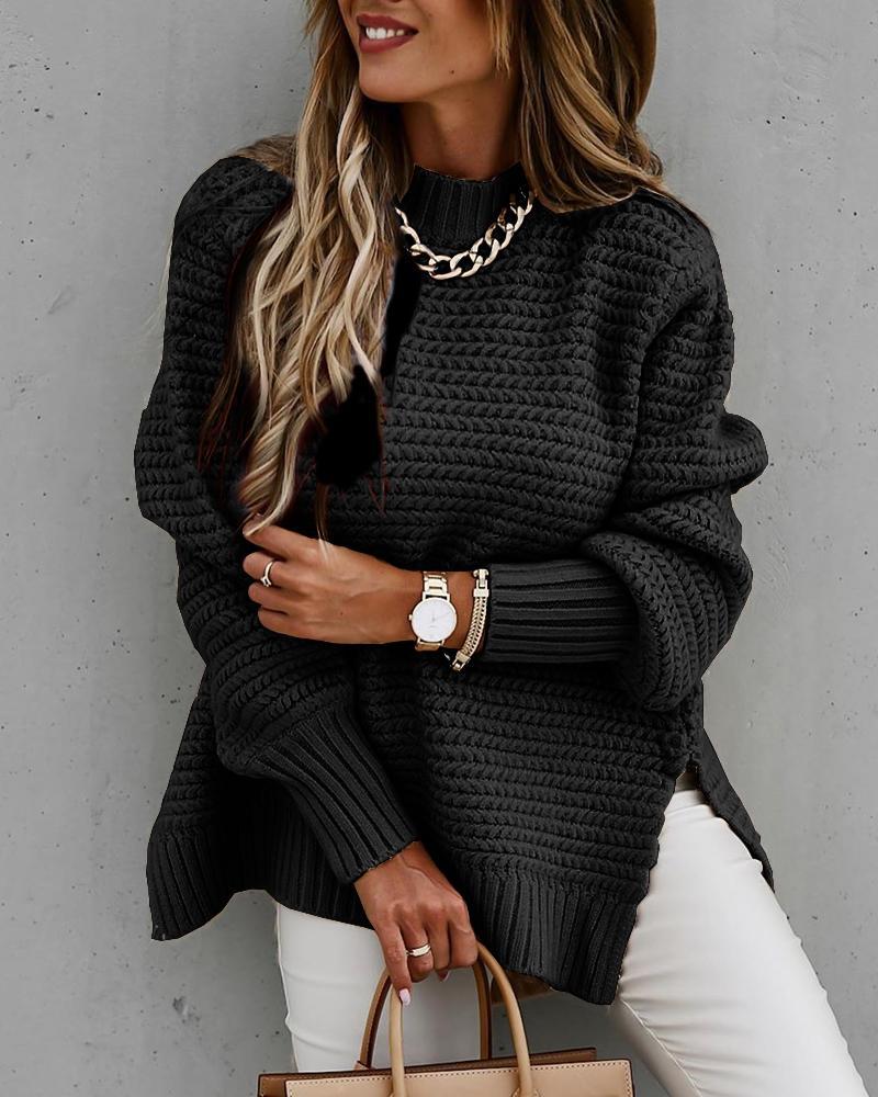 chicme / Solid Long Sleeve Loose Slit Hem Sweater