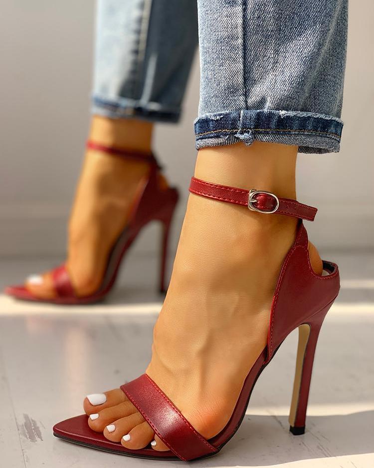 ivrose / Peep Toe Correa de tobillo sandalias de tacón fino