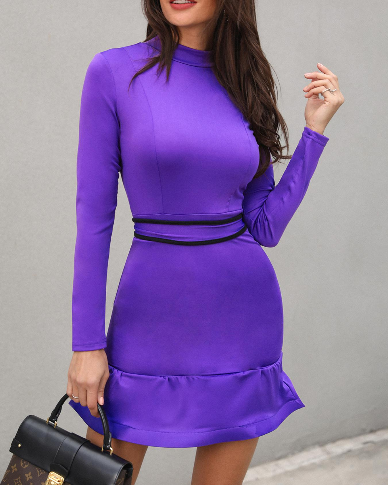 Long Sleeve Flounced Hem Bodycon Dress фото