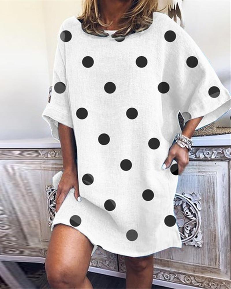Polka Dot Shift Mini Dress фото