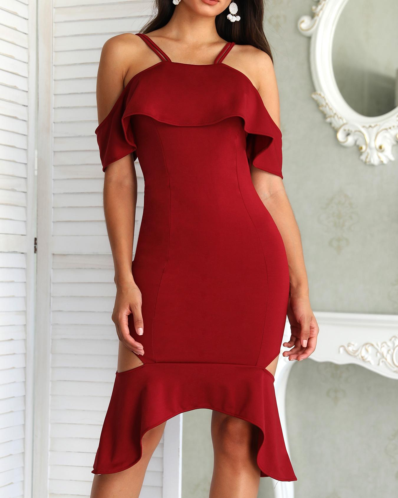 Flounce Trim Spaghetti Strap Cutout Pep Hem Dress