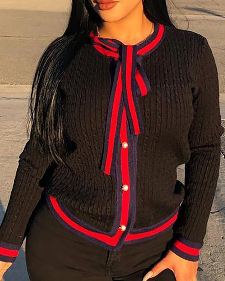 Stripes Tape Binding Tie Neck Cardigan фото
