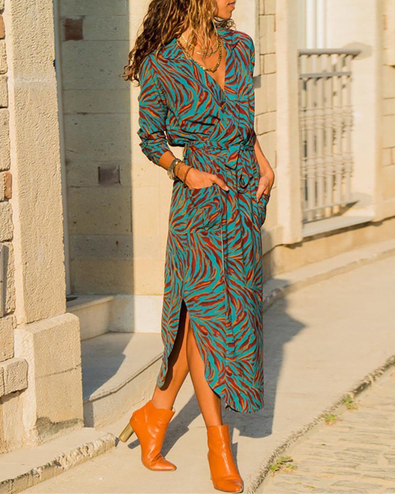 Side Slit Long Sleeve Print Shirt Dress фото