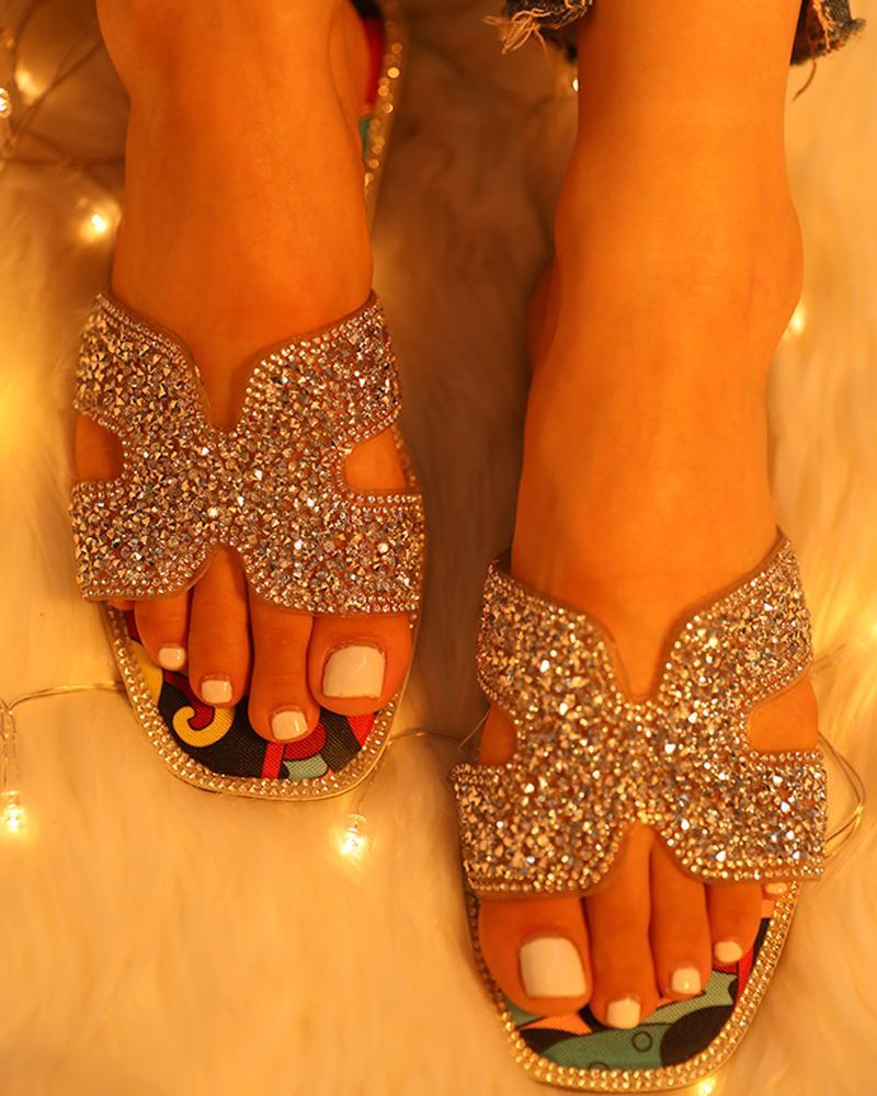 ivrose / Studded Open Toe Cutout Flat Sandals