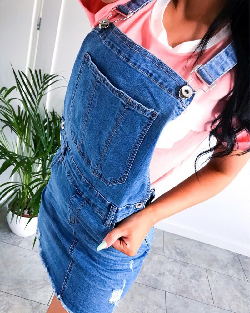 Denim Overall Mini Dress фото