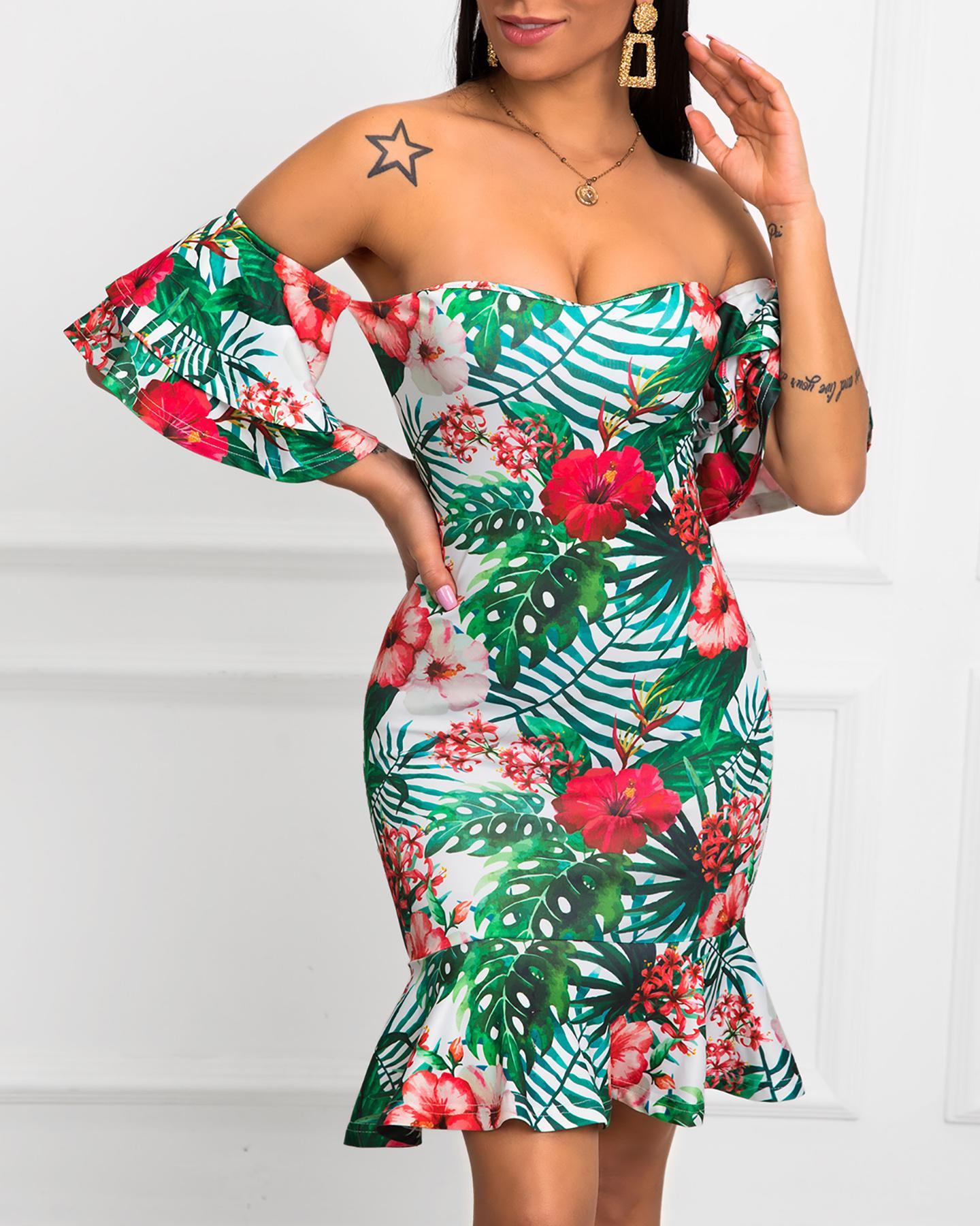 Off Shoulder Tropical Print Ruffles Dress