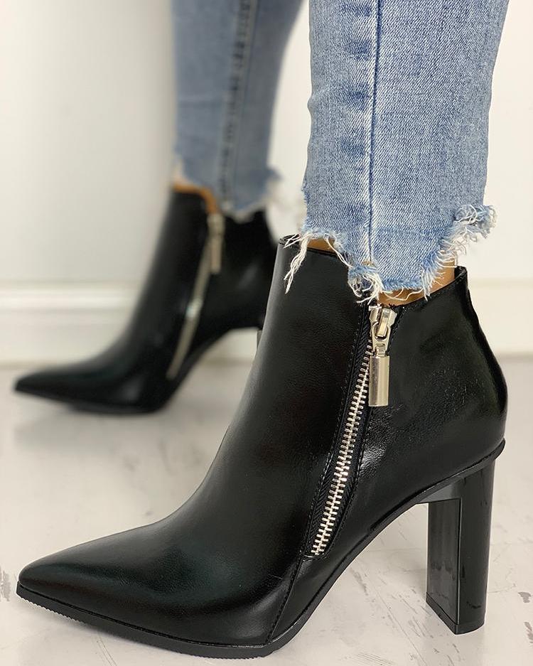 Side Zipper Design Chunky Heeled Boot