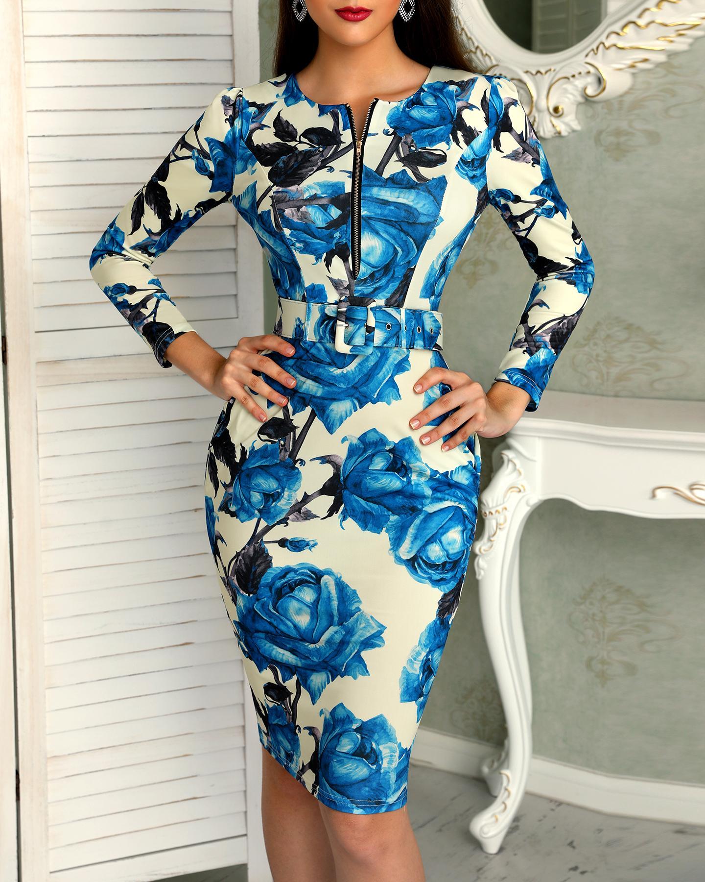 Floral Print Long Sleeve Zipper Belted Dress