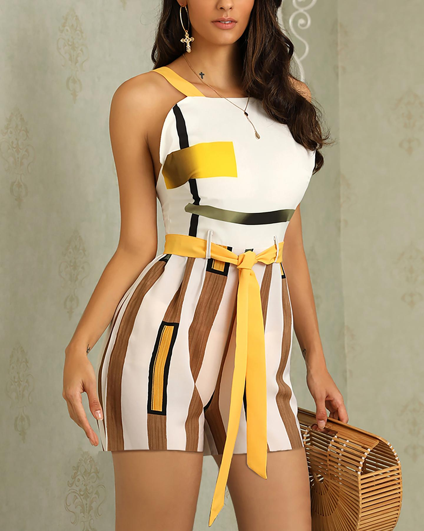 Contrast Striped Thin Strap Romper фото