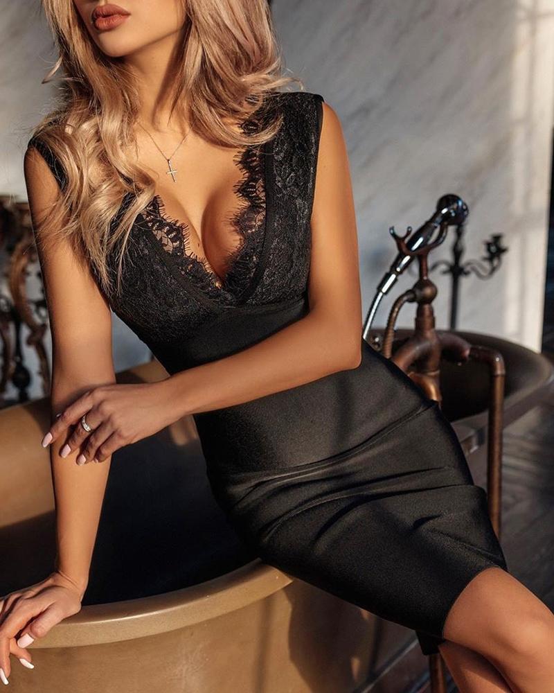 ivrose / Plunge Eyelash Lace vestido sem mangas Bodycon